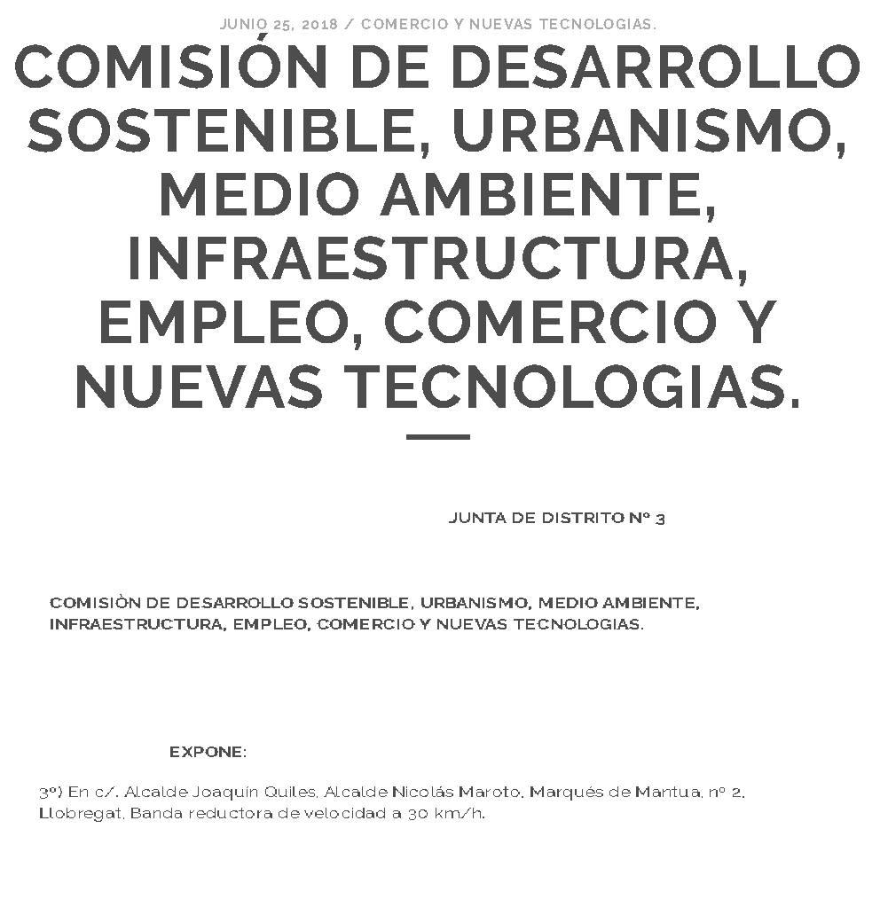 COMISION DE DESARROLLO SOSTENIBLE, URBANISMO, MEDIO AMBIENTE, INFRAESTRUCTURA, EMPLEO, COMERCIO Y NUEVAS TECNOLOGIAS.