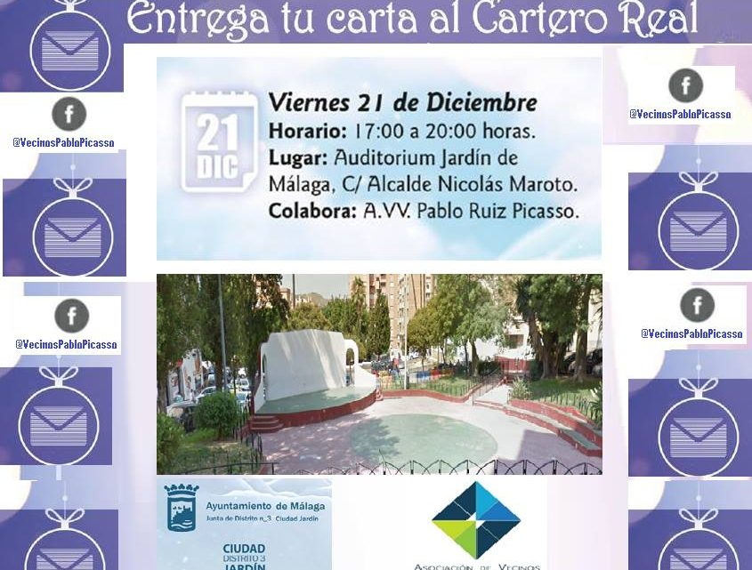 Entrega tu carta al Cartero Real viernes 21 de Diciembre Auditorium de Jardín de Málaga