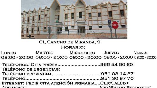 Centro de salud Ciudad Jardín (Guadalmedina) Horario Horario: Lunes 08:00 – 20:00,Martes 08:00 – 20:00,Miércoles08:00 – 20:00,Jueves 08:00 – 20:00,Viernes 08:00 – 20:00.