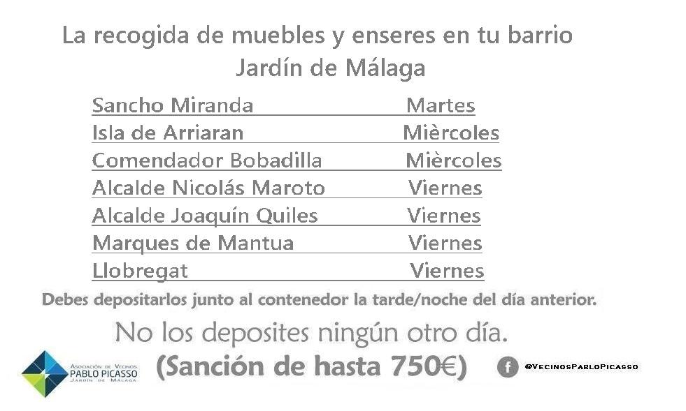 En Jardín de Málaga el día para depositar tus muebles  el día selectivo de recogida Limasa pasara a recogerlos el día selectivo de recogida Deposítalos junto al contenedor.