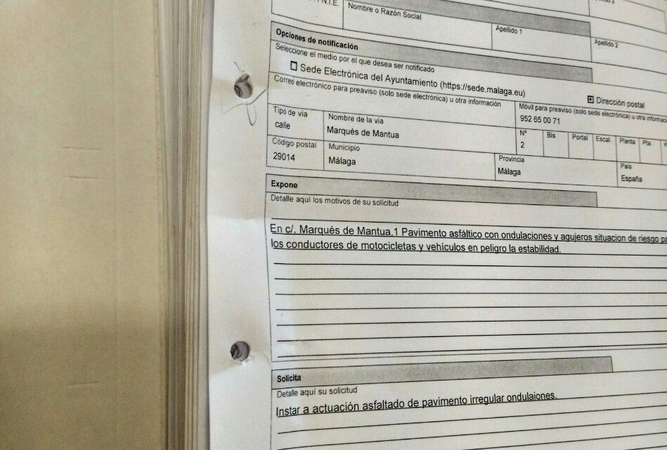 Solicitud de incidencias realizadas en Jardìn de Màlaga 2018 solicitado por  Asociación de Vecinos Pablo Picasso Jardìn de Màlaga
