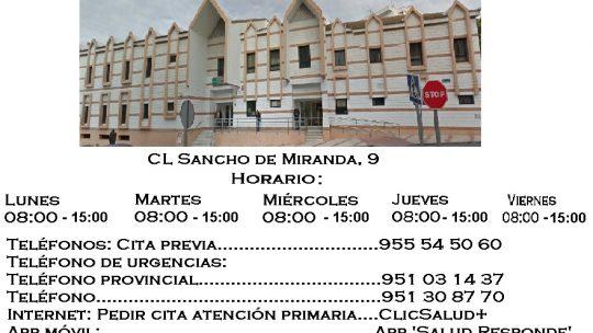 Centro de Salud Ciudad Jardín (Málaga) Durante el período de verano (1 julio – 15 septiembre)centro de salud permanecerá cerrado por las tardes Lunes 08:00 – 15:00 Martes 08:00 – 15:00 Miércoles 08:00 – 15:00 Jueves 08:00 – 15:00 Viernes 08:00 – 15:00