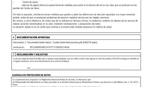 Dirigida a la Delegación Provincial de Salud: Relación con las carencias del Centro de salud Ciudad Jardín (Guadalmedina).Asociación de Vecinos Pablo Picasso  Jardín de Málaga A.VV. Alegría de La Huerta