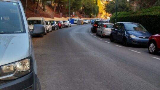 Retirada de montón de hojas caducas sobre ambos carriles por la falta de adherencia de motocicletas y vehículos en prevención accidentes Solicitado Asociación de Vecinos Pablo Picasso Jardìn de Màlaga