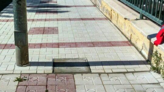 Reposición de tramo de acera con hundimientos en vía pública en calle Llobregat solicitado  Asociación de Vecinos Pablo Picasso Jardìn de Màlaga